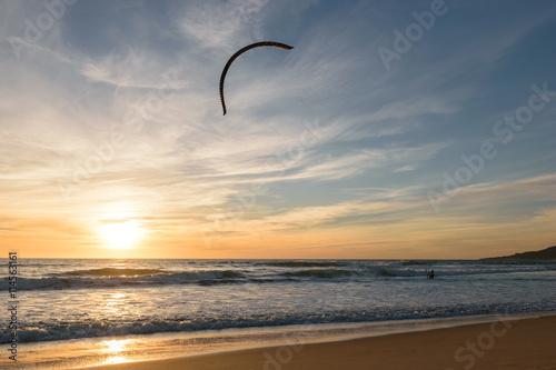 Kitesurfer at sunset in Tarifa, Spain