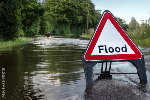 Fototapeta flooded road in essex
