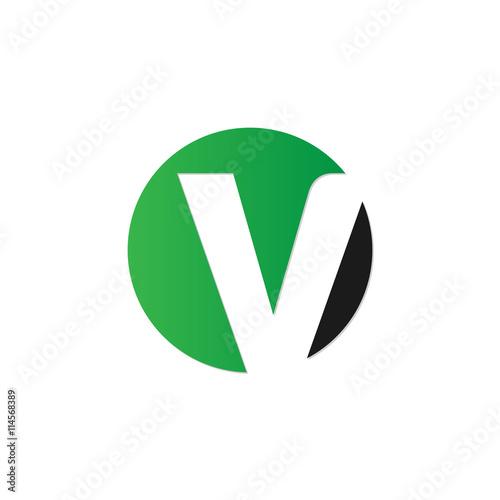 Fototapeta initial letter circle logo green obraz na płótnie
