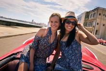 Happy Couple Tourist Girls On ...