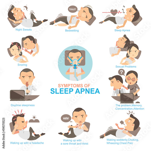 Photo Sleep Apnea /Man Symptoms and signs sleeping apnea  The impact on married life and his work