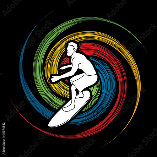 obraz lub plakat Surfing designed on spin wheel background graphic vector.