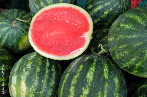 Half sliced watermelon wrapped protective film..sold at local fa