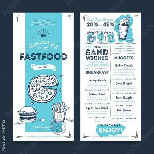 Fastfood restaurant menu template design on chalkboard background ...