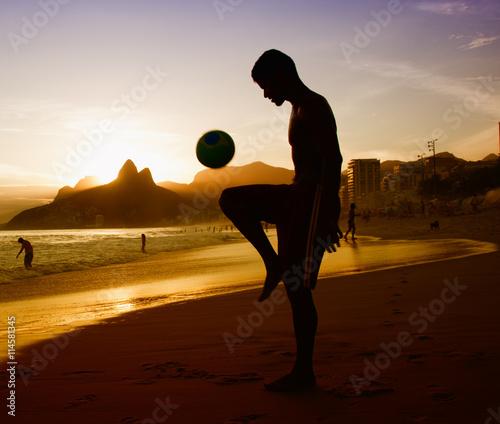 Fotografie, Obraz  Soccer player at beach at Rio de Janeiro