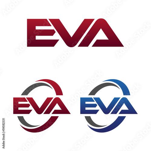 Valokuvatapetti Modern 3 Letters Initial logo Vector Swoosh Red Blue eva
