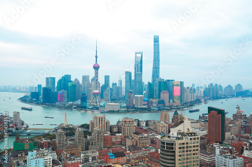 Aerial photography bird view at Shanghai Skyline Poster