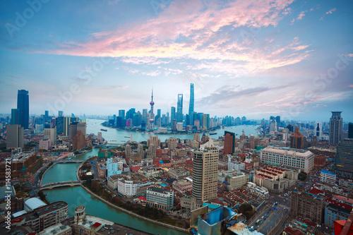 Canvas Prints Berlin Aerial photography at Shanghai bund Skyline of sunrise