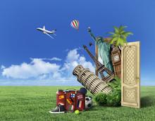 Concept Of Travel. Door With P...