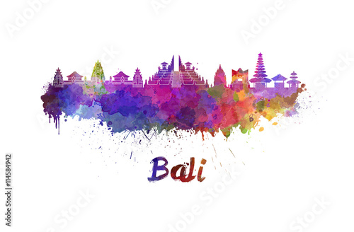 Photo  Bali skyline in watercolor