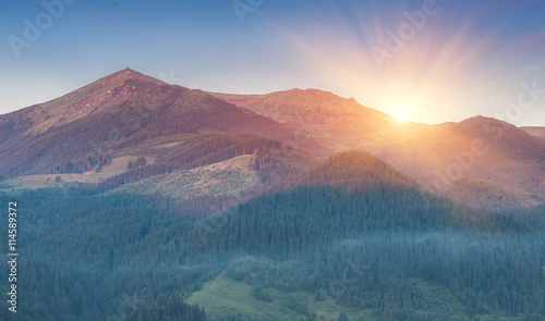 Foto op Aluminium Zalm Majestic sunset in the mountains landscape. Carpathian mountins, Ukraine.
