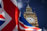 Fototapeta Big Ben - British union jack flag and Big Ben Clock Tower and Parliament house at city of westminster in the background - UK votes to leave the EU