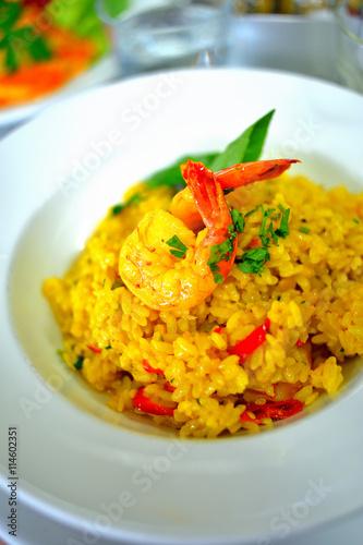 fototapeta na lodówkę Food and Cuisine : Risotto de gambas, prawn risotto