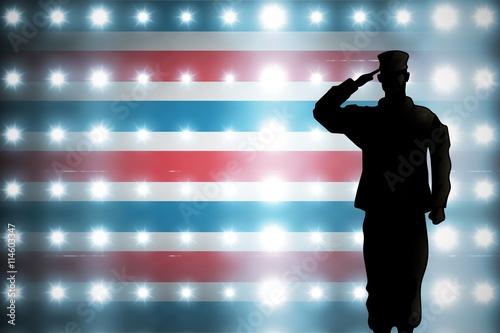 Aluminium Prints Composite image of soldier