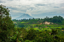 Mount Sinabung Volcano In Nort...