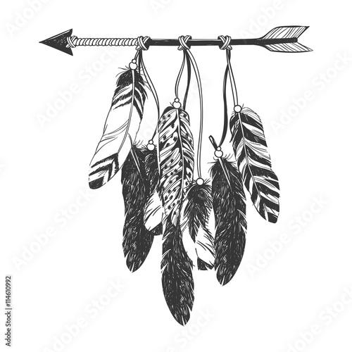 Fotografia Native American Indian Dreamcatcher with feathers.