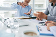 Businessman explaining his idea to colleague, selective focus