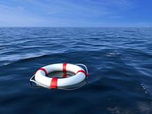 Life Preserver In Sea