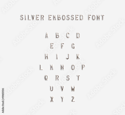 Vászonkép Silver embossed alphabet isolated, 3d illustration