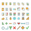 Icons in simple style with pastel colors.