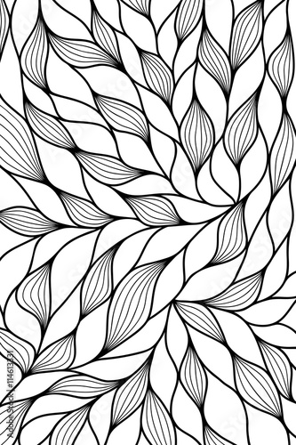 Modern abstract background with hand drawn waves. Vector illustration. Wall mural