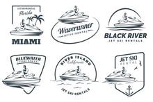 Set Of Jet Ski Rental Logo, Badges And Emblems.