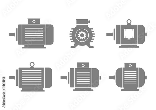 Fotografija Grey electric motor icons on white background