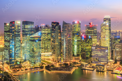 Landscape of the Singapore financial district and business building Canvas Print