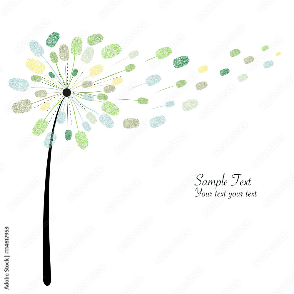 Fototapety, obrazy: Green dandelion with finger prints vector illustration