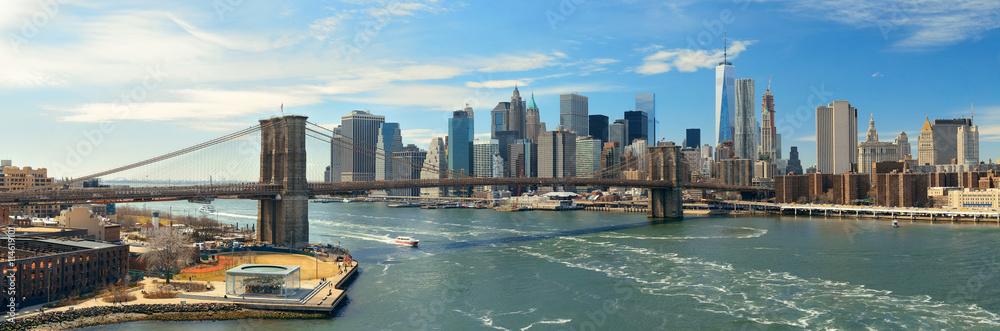 Fototapety, obrazy: Brooklyn Bridge and downtown Manhattan