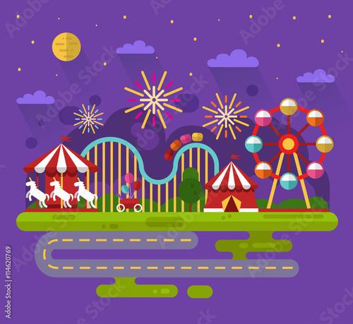 Foto op Aluminium Snoeien Flat design vector night landscape illustration of carnival or amusement park with sky full of firework lights, carousel, ferris wheel, roller coasters, road. Festival, carnival, circus concept.