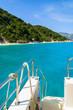 View of beautiful beach and sea from tourist boat, Ithaka island, Greece