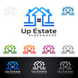 Simple real estate vector logo design, with line and up shape represented strong and modern realty