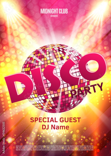 Fotografia Disco party poster. Background party with disco ball