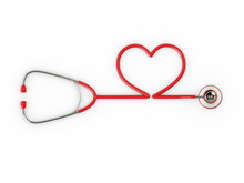 3d Rendered Red Stethoscope Wi...