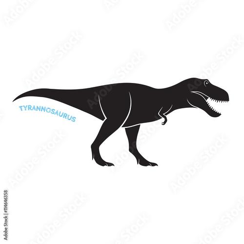 Photo  Tyrannosaurus silhouette icon emblem on white background