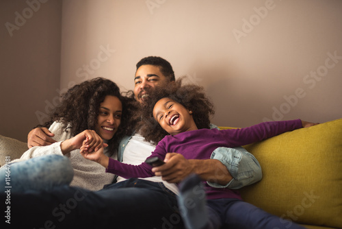 Happy family having fun