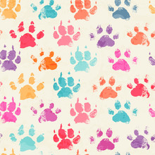 Abstract Seamless Pattern With Bright Colorful Hand Paw Prints