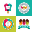 Set of vector ice cream logo, label, badges or emblems. Modern flat ice cream icons. Summer illustrations. Modern design elements for package, prints, cafe or ice cream shop.