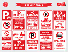 Car Parking Sign (car Parking Area, No Parking In Front Of The Building, Office Employee Only, Unauthorized Vehicles Towed Away, Building Entrance). Easy To Modify.