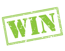 Win Green Stamp On White Background