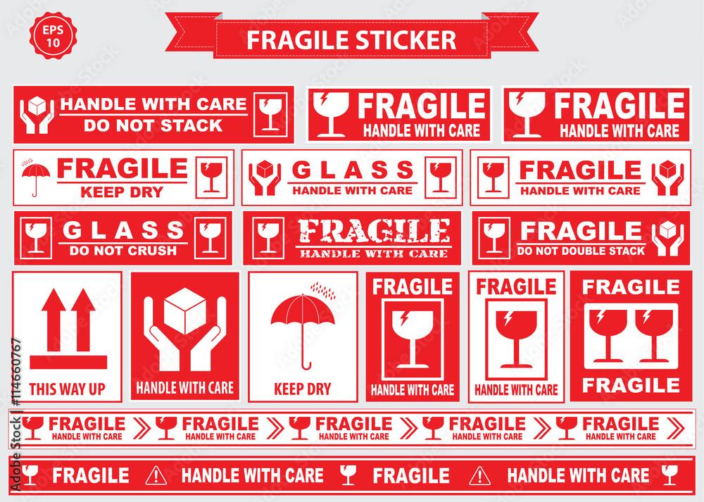 Fototapeta Fragile Sticker sign. easy to modify