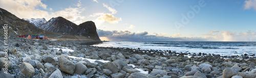 Garden Poster Scandinavia Stone coastline panorama of Lofoten Islands,