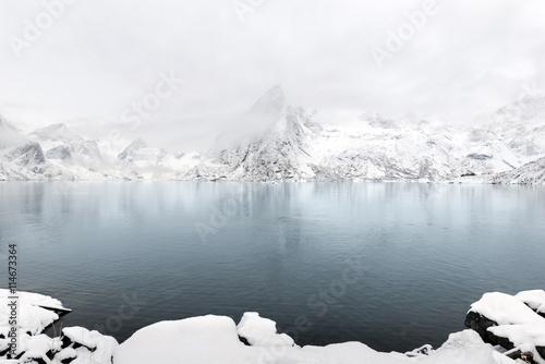 Garden Poster Scandinavia Lilandstinden mountain peak on Hamnoy island during winter time,