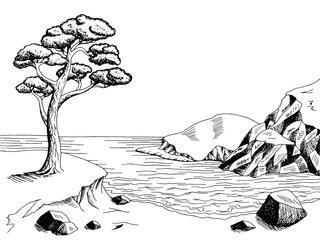 Naklejka Sea coast graphic art pine black white landscape illustration vector