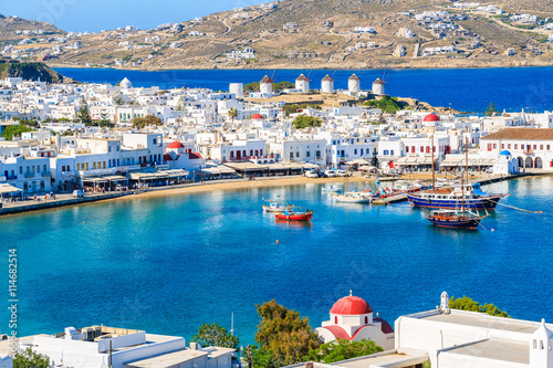 A view of Mykonos port with boats, Cyclades islands, Greece Canvas Print