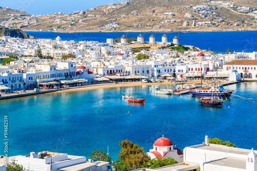 Fototapeta A view of Mykonos port with boats, Cyclades islands, Greece obraz