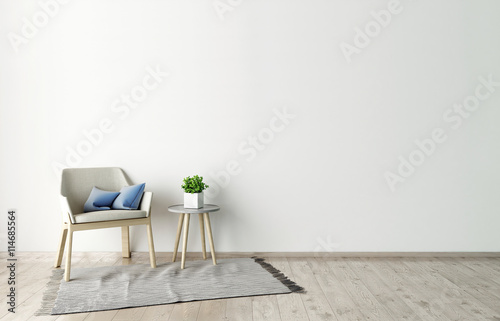 Fotografía  3d illustration of empty white interior