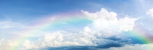 Beautiful Classic Rainbow Across In The Blue Sky After The Rain.