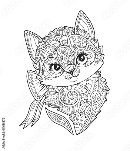 Kleurplaten Schattig Paarden Kitten With Bow Portrait In Zentangle Style In Vector